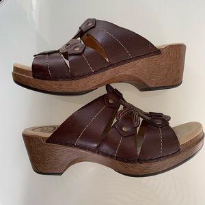 Dansko Serena wedge sandals, brown, Sz 38/8